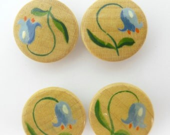 Vintage Hand Painted Bluebell Flower Buttons x 4