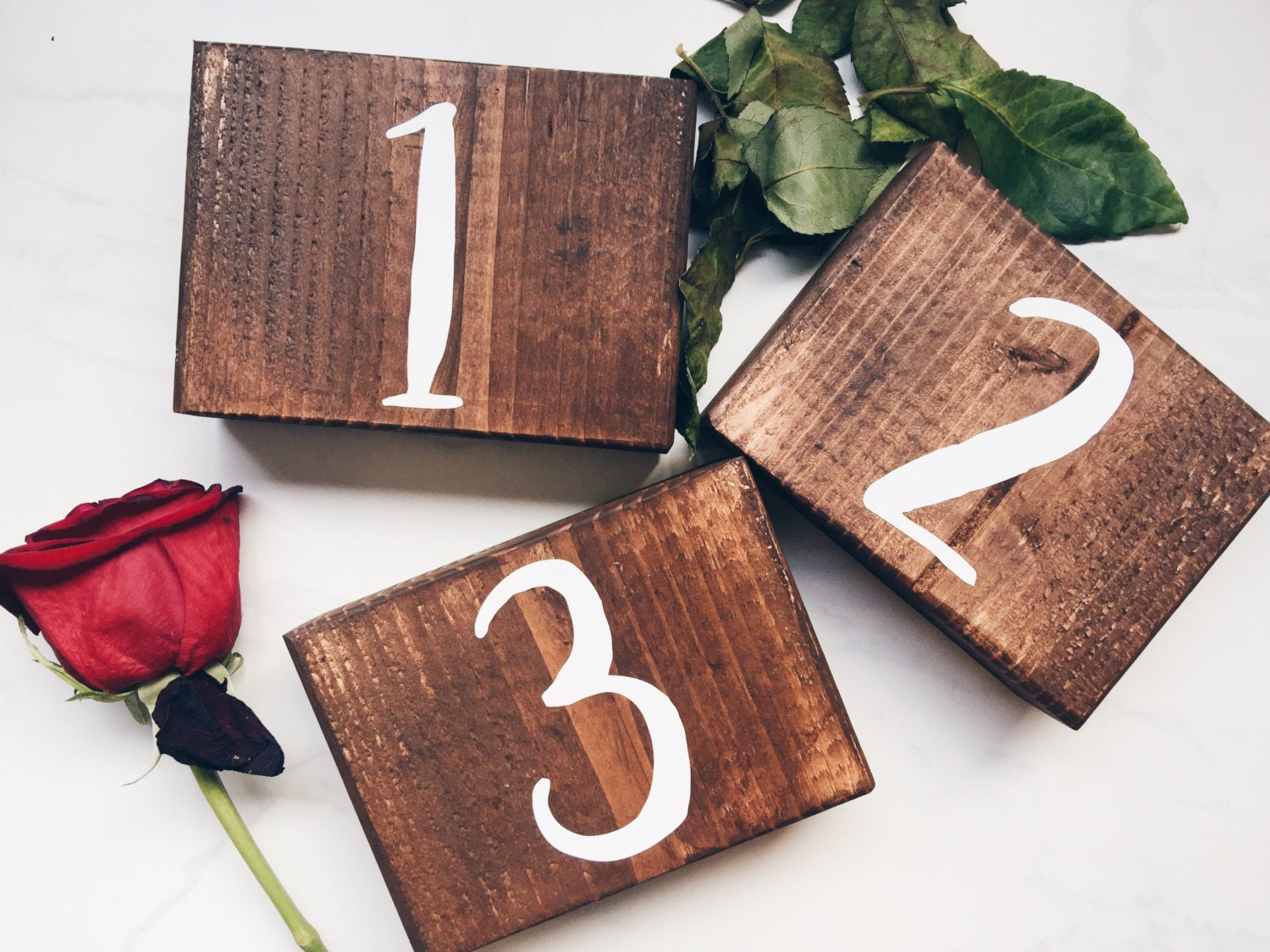 Wooden table numbers rustic wedding