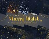 Starry Night Digital Paper Backgrounds, Star Night Sky Digital Paper, Gold Stars Scrapbook Paper, Space digital textures