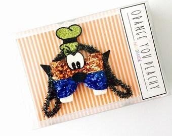 The Goofy Hair Bow - Goofy headband, goofy hair clip, goofy glitter bow 3 WEEK TURNAROUND