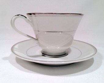 Vintage Sincerity Imperial Japan,Cup & Saucer Set,White with Platinum Rim,W. Dalton China,Fine Bone China,Tea Party,Replacement China