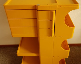 Joe Colombo excellent condition Boby 3 Bieffeplast design movable storage system trolley ochre yellow plastic work cabinet Italy 1960s