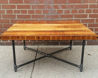 Reclaimed wood coffee table || reclaimed wood condo dining table || rustic reclaimed table || industrial chic cottage table