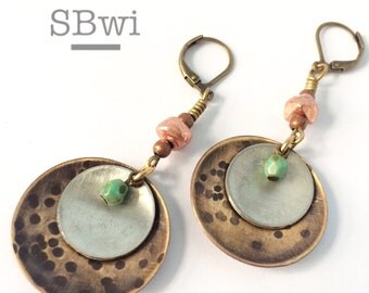 Mixed metal and picasso glass earrings