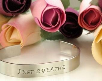 JUST BREATHE/Inspirational Mantra Bracelet/Great gift/ Quotes/Stainless Steel Bracelet/adjustable fit/Handmade/Handstamped personalized