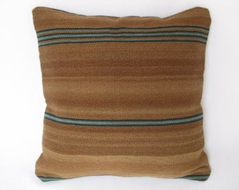 Peru, founded pillow Peruvian, Peruvian blanket, Brown pillow with blue stripes. (16 x 16 inch.) (40x40cm) CR-176