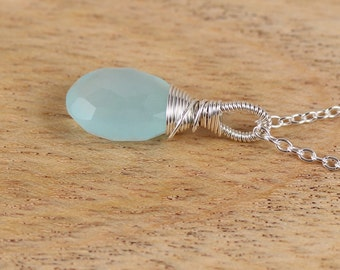 Aqua Chalcedony & Sterling Silver Pendant. Blue Green Semi Precious Gemstone Necklace. Wire Wrapped Jewellery. Pendant Charm. Pendant Dangle