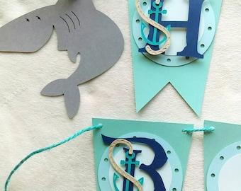 Shark birthday banner, shark birthday decorations, shark party decor