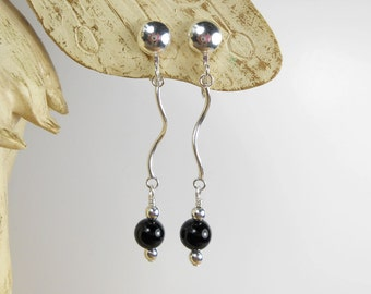 Sterling Silver Clip On Earrings with Black Onyx Semi Precious Gemstone Beads Black and Silver Earrings UK Onyx Earrings Drop Dangle Earring