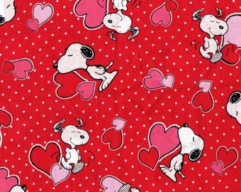 Snoopy Valentine Fabric, Peanuts Fabric, Charlie Brown Fabric, Cotton Fabric, Quilting fabric,  1 and 3/4 Yard Piece