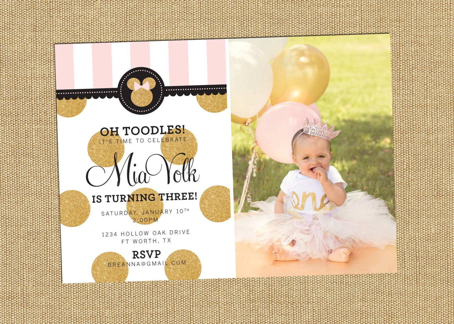 Minnie Party Invitation Metallic Minnie Mouse Party Pink Gold