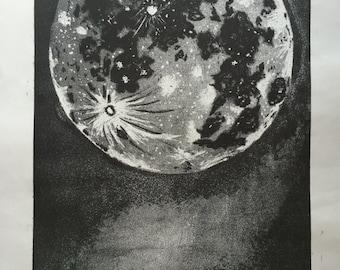 "Original Moon Etching Print ""Moonscape"" 5/5"