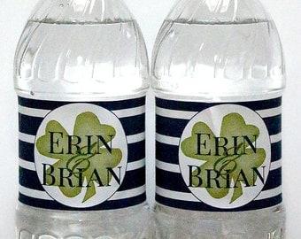 Custom Wedding Welcome Shamrock Irish Waterproof Water Bottle Labels