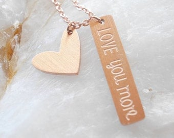 Love You More Necklace, Mother Necklace, Gift for Mom, Dainty Necklace, Tiny Necklace, Birthday Gifts, Charm Necklace