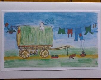 Handmade greeting card of a drawing of a gypsy wagon.