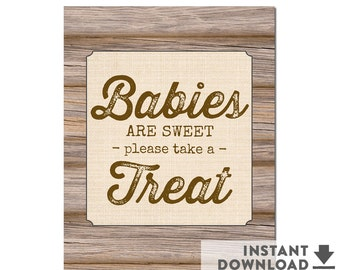 "Rustic Baby Shower Decoration Babies are Sweet 8x10"" Dessert Table Sign Rustic Baby Shower Decoration • No.709BROWN"