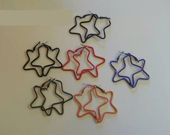 Star shape hoop earrings