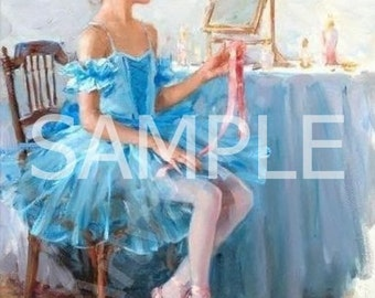 Fabric Art Quilt Block *Blue Ballerina*  12-580 FREE SHIPPING