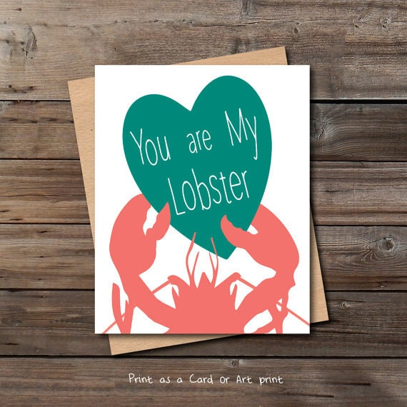Lobster Valentine Card Printable Download Him Her Funny Cute