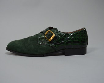 Winona Creeper | 7.5 / 9.5  | 1980 Vintage Green Suede Leather Pointed Toe Oxfords 80s Creepers