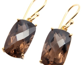 Faceted Smoky Quartz Gold Plated Earrings