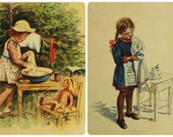 "Artist Zhukov. ""First work"" and ""All herself"". Set of 2 Vintage Soviet Postcards - 1954. Pravda Publ. Girl, Cleaning, Doll, Table"