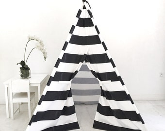 Kids Play Tent Handmade in Black and White Stripe Designer Cotton Fabric.