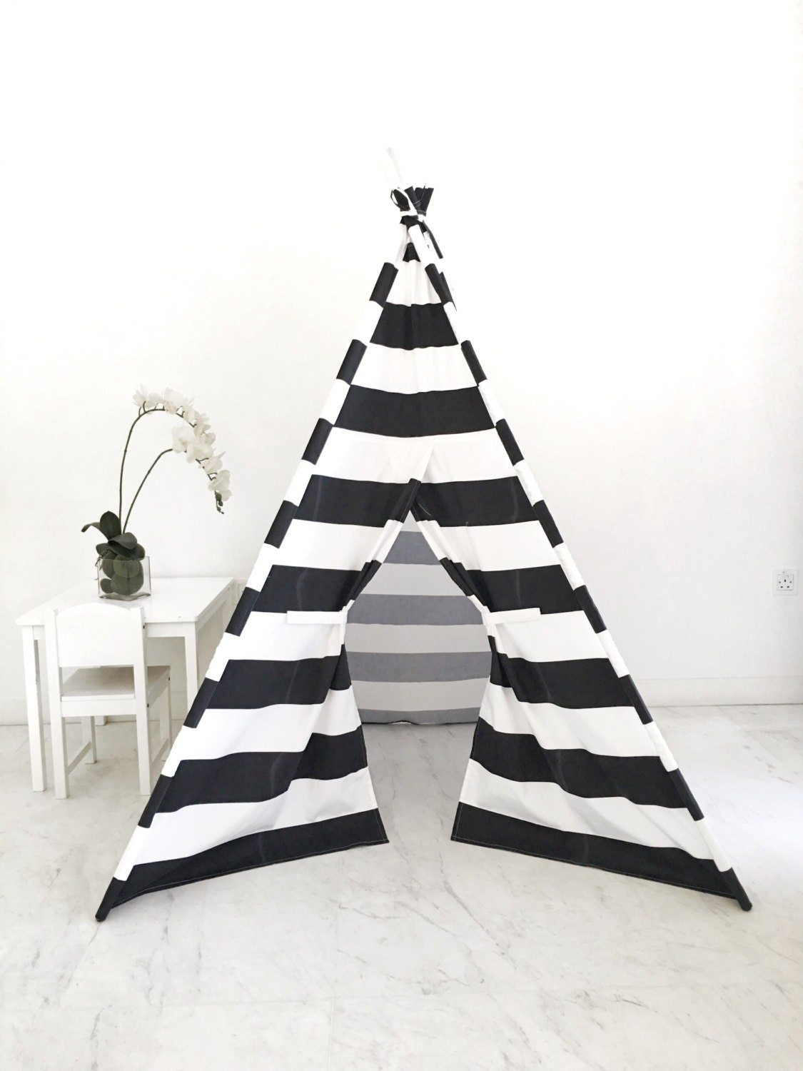 Kids Play Tent Handmade in Black and White Stripe Designer Cotton Fabric.  sc 1 st  Domestic Objects & Kids Play Tent Handmade in Black and White Stripe Designer Cotton ...