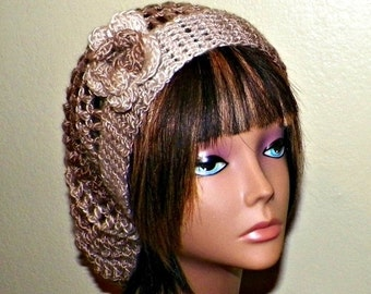 On Sale- Brown Slouchy Hat Womens Crochet Hippie Earth Tones Tam Beret  Boho Mesh Open Weave  Rose Flower Beanie Rasta