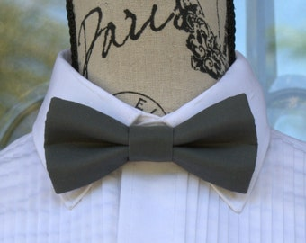 Lead Gray Bow Tie  283B (Infant - Adult) Weddings - Grooms - Groomsmen - Graduation -  Business Attire - Gray Bowties - Bow Ties