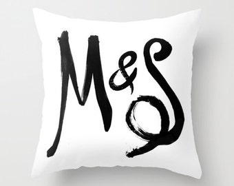 monogram pillow, gift for her, personalized pillow case, cushion cover, couple pillow case, couples gift, personalized monogram gift, canvas