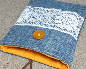 Denim Kindle Cover, Jeans lace pouch, Book holder, Fabric Nook case, Reader gift idea, Kobo Touch sleeve, Kindle accessory, Padded book cosy