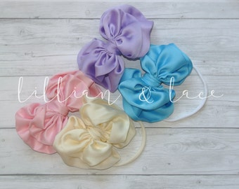 More colors -The Lillian- Signature Bow Headband or clip for baby or girls. Choose your color. pink, ivory, black, navy, yellow, red, coral