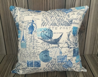 Blue Throw Pillow, Toss Pillow, Decorative Pillow, Pillow Cover, Cushion Cover, Amore Pattern ~ 18in x 18in ~ Envelope Closure