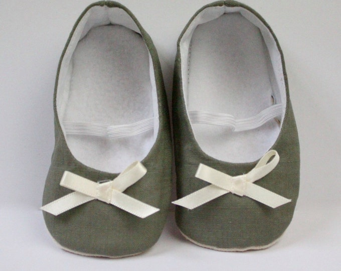 Khaki Green ballet flats with ivory satin bow  Soft sole baby shoe