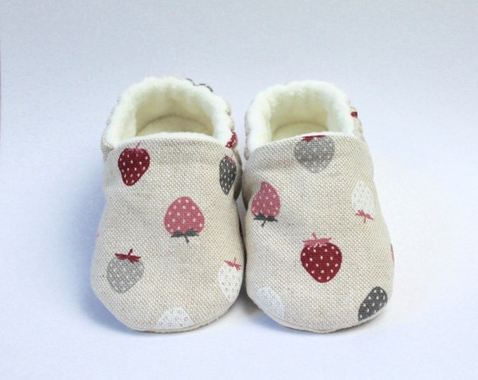 Yummy little strawberry. soft soled slip on baby shoes.