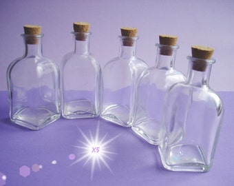 Glass Bottles Set with Cork lids, x5 Clear Glass Vials, Square Shape, Capacity of 1.7oz