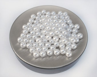100 Acrylic White Pearl beads, 8mm Round Beads - 2mm hole - SET 100 beads
