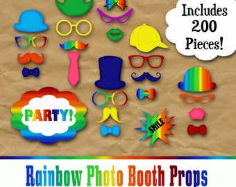 Rainbow Photo Booth Prop and Decoration Set - Printable - Includes 200 Images in PDF and Jpeg Format - Digital Download - INSTaNT DOWNLoAD