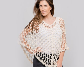 Dainty Summer Cotton Crochet Poncho