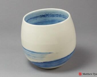 Stoneware Vase, Pottery Vase, Ceramic Vase, Ceramic Vessel: Stoneware Pottery - Lazy Sea Cone Vessel Hand Thrown in Porcelain