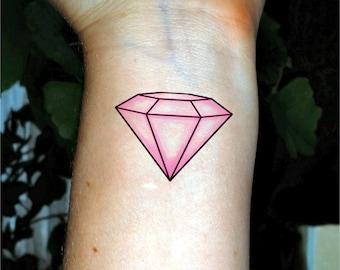Bachelorette tattoo pink diamond tattoo Bachelorette party tattoos Bridesmaid tattoo
