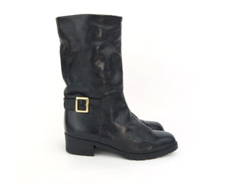 Vintage black and gold leather boots for Women | Pair of Vibram leather winter boots | Size 7 or 37 | High Heel Warm Boots