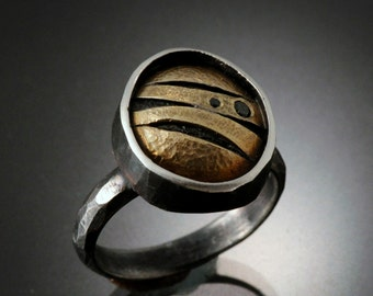 Black Diamonds in One of a Kind Sterling Silver and 18k Gold ring | Sterling Silver Ring with 18k Gold