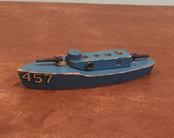 Vintage Wooden Toy Ship Navy Patrol Gun Boat Destroyer