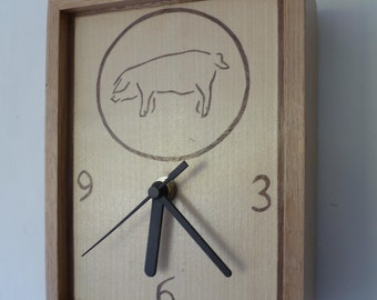 A Beautiful Hand Made Piggy / Pig  Oak Rectangular Box Clock