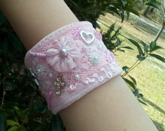 pretty in pink shabby chic cuff bracelet with charms and bead embroidery
