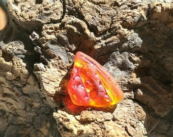Genuine Sea Glass UV Red Orange Amberina Rare Find Partial Lens