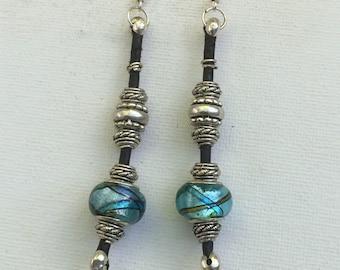 Murano bead & Leather Earrings