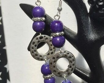 Long Purple stone bead Earrings